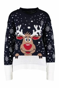 Womens Contrast Hem Reindeer Christmas Jumper - navy - M/L, Navy