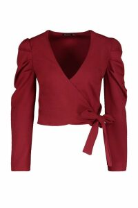Womens Puff Sleeve Wrap Top - red - 14, Red