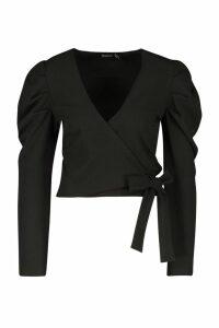 Womens Puff Sleeve Wrap Top - black - 8, Black