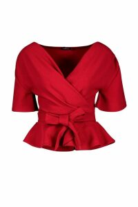 Womens Crepe Angel Sleeve Wrap Top - red - 12, Red