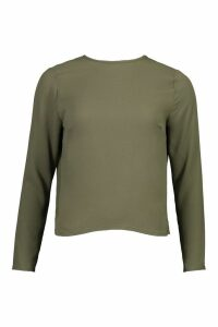 Womens Woven Knot Back Long Sleeve Blouse - green - 16, Green