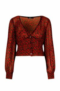 Womens Ditsy Rose Fitted Waist Blouse - black - 14, Black