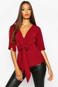 Womens Knot Front Woven Blouse - red - 12, Red