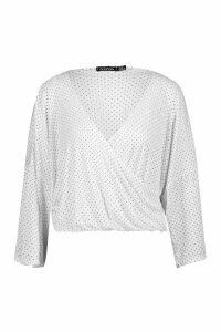 Womens Pleated Polka Dot Kimono Sleeve Wrap Top - white - 12, White