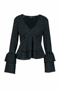 Womens Polka Dot Ruffle Sleeve Top - black - 10, Black