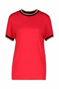 Womens Striped Neck & Cuff Rib T-Shirt - red - M, Red