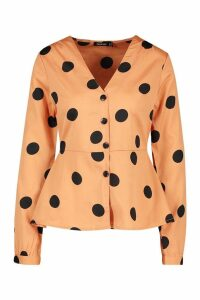 Womens Spot Pep Hem Blouse - orange - 12, Orange