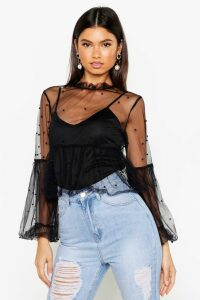 Womens Organza Pearl Embellished Top - black - 8, Black