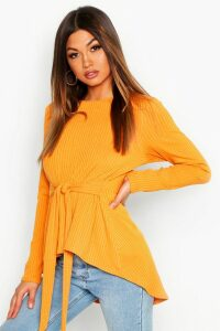 Womens Jumbo Rib Hem Peplum Long Sleeve Top - yellow - 16, Yellow