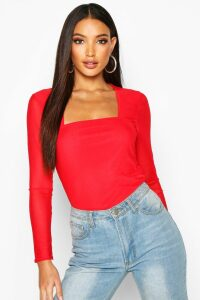 Womens Mesh Square Neck Long Sleeve Top - red - 8, Red