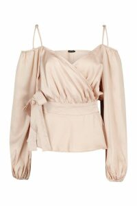 Womens Satin Cold Shoulder Peplum Blouse - Beige - 10, Beige