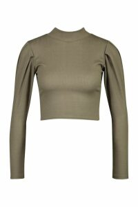 Womens Puff Sleeve Crop Sweatshirt - green - 14, Green