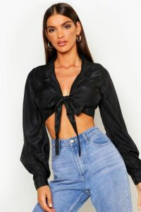 Womens Woven Tie Front Cropped Shirt - black - 8, Black