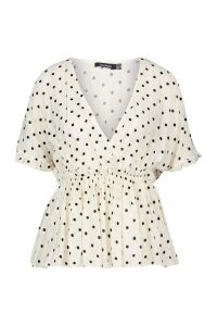 Womens Woven Polka Dot Wrap Peplum Top - white - 6, White