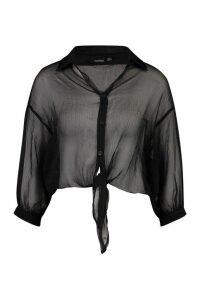 Womens Woven Sheer Tie Front Shirt - black - 8, Black