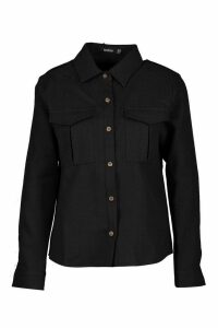 Womens Utility Pocket Boucle Shirt - black - 10, Black