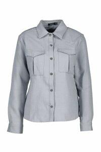 Womens Utility Pocket Boucle Shirt - blue - 14, Blue