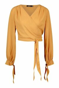 Womens Woven Wrap Tie Cuff Blouse - orange - 14, Orange
