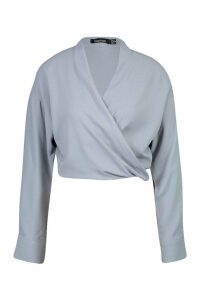 Womens Woven Twist Front Detail Blouse - blue - 6, Blue