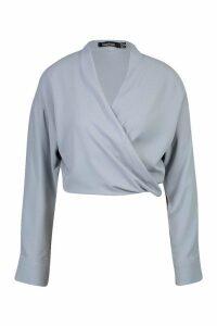 Womens Woven Twist Front Detail Blouse - blue - 6, Blue