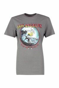 Womens Los Angeles Slogan Surf T-Shirt - grey - L, Grey