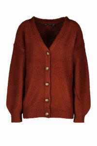 Womens Balloon Sleeve Button Through Cardigan - brown - S, Brown