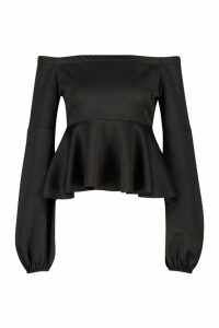 Womens Off Shoulder Balloon Sleeve Peplum Top - black - 14, Black