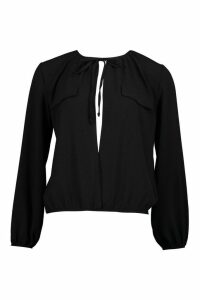 Womens Tie Neck Pocket Blouse - black - 12, Black