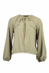 Womens Tie Neck Pocket Blouse - green - 12, Green