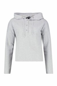Womens Button Detail Oversized Hoody - grey - M, Grey