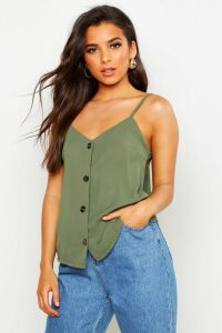 Womens Button Front Woven Cami - Green - 14, Green