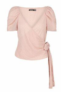 Womens Dobby Chiffon Wrap Blouse - pink - 10, Pink