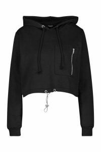 Womens Utility Pocket Hoody - Black - M, Black