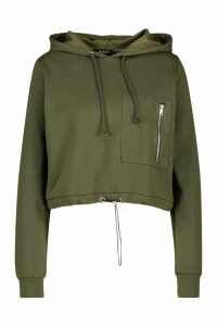 Womens Utility Pocket Hoody - Green - L, Green