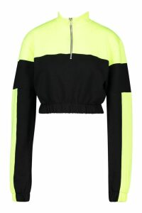 Womens Neon Colour Block Crop High Neck Sweatshirt - black - L, Black