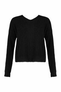Womens Tall Crop Twist back Jumper - black - M/L, Black