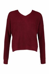 Womens Tall Crop Twist back Jumper - red - M/L, Red