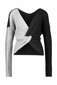 Womens Tall Colour Block Twist Front Jumper - grey - S/M, Grey