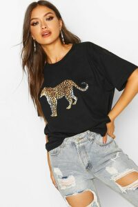 Womens Leopard Graphic Oversized T-Shirt - black - 12, Black