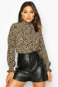 Womens Leopard Print High Neck Sheered Blouse - Brown - 12, Brown