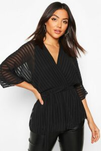 Womens Sheer Stripe Wrap Belted Blouse - black - 12, Black