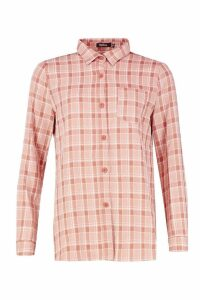 Womens Woven Checked Shirt - orange - 12, Orange