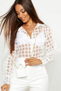 Womens Organza Mesh Check Blouse - White - 14, White