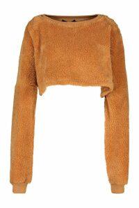 Womens Teddy Cropped Sweat - beige - M/L, Beige