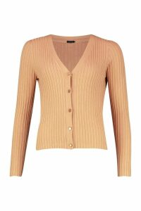 Womens Rib Knit Button Through Cardigan - beige - S, Beige