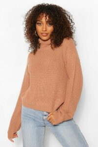 Womens Tall Roll Neck Crop Jumper - Beige - M, Beige