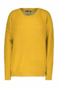 Womens Tall Crew Neck Jumper - yellow - L, Yellow