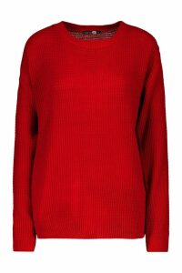 Womens Tall Crew Neck Jumper - Red - L, Red
