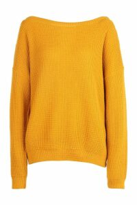 Womens Tall Slash Neck Jumper - Yellow - S, Yellow