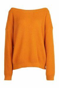 Womens Tall Slash Neck Jumper - orange - S, Orange